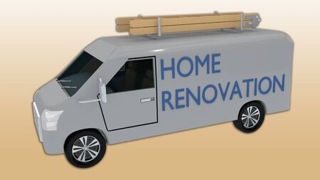 3D illustration of a home renovation van, isolated on a peach color gradient.