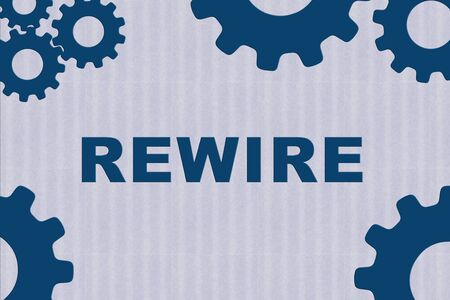 REWIRE sign concept illustration with blue gear wheel figures on bale blue strips as background