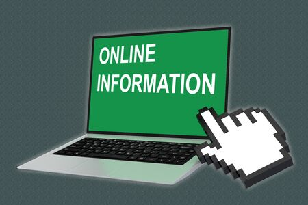 3D illustration of ONLINE INFORMATION script with pointing hand icon pointing at the laptop screen Imagens