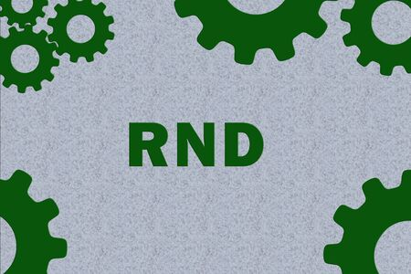 RND sign concept illustration with green gear wheel figures on gray background