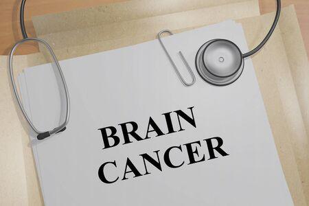 3D illustration of BRAIN CANCER title on a medical document