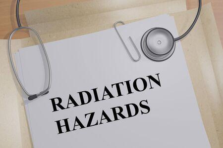 3D illustration of RADIATION HAZARDS title on a medical document