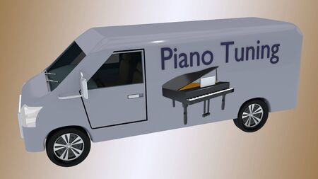 3D illustration Piano Tuning print on a van, along with an illustration of grand piano, isolated on pale brown gradient.