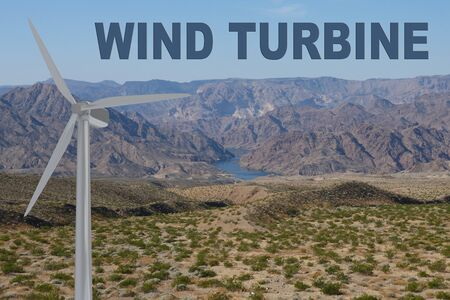 3D illustration of WIND TURBINE title on clear sky as a background, along with a wind turbine in mountain terrain.