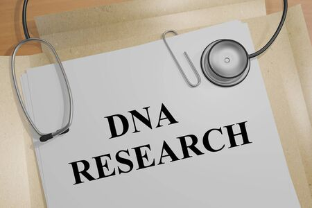 3D illustration of DNA RESEARCH title on a medical document
