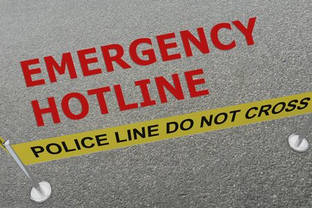 3D illustration of EMERGENCY HOTLINE title on the ground in a police arena