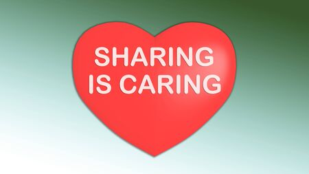 3D illustration of SHARING IS CARING title on red heart, isolated on green gradient.