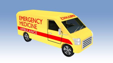 3D illustration of an emergency medicine ambulance, isolated on a blue gradient.