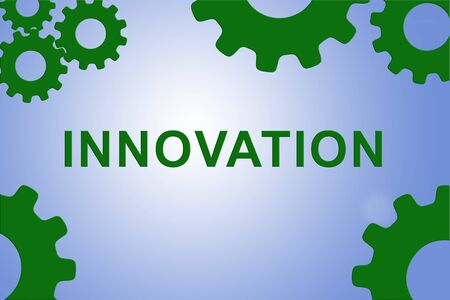INNOVATION sign concept illustration with green gear wheel figures on pale blue background