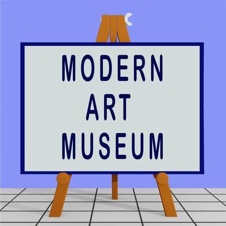 3D illustration of MODERN ART MUSEUM title on a tripod display board