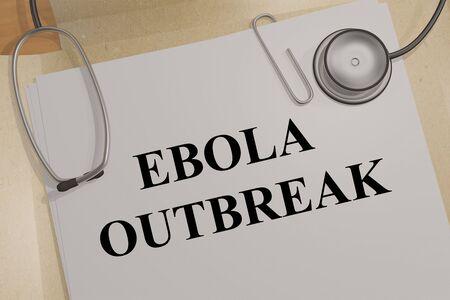 3D illustration of EBOLA OUTBREAK on a medical document