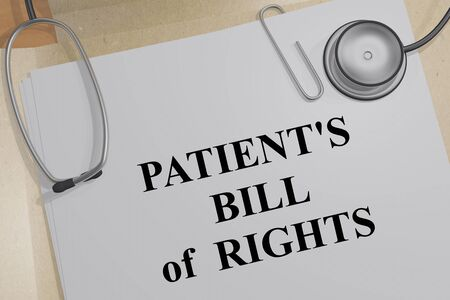 3D illustration of PATIENTS BILL of RIGHTS title on a medical document Banco de Imagens