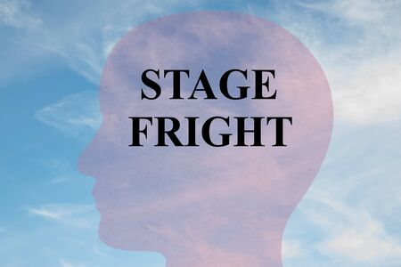 Render illustration of STAGE FRIGHT title on head silhouette, with cloudy sky as a background.