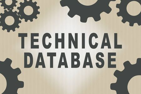 TECHNICAL DATABASE sign concept illustration with dark brown gear wheel figures on pale brown gradient