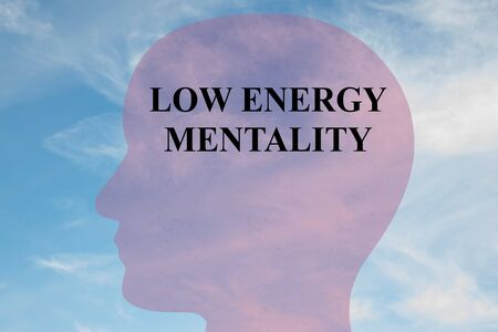 Render illustration of LOW ENERGY MENTALITY title on head silhouette, with cloudy sky as a background.