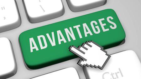 3D render illustration of ADVANTAGES keyboard button key
