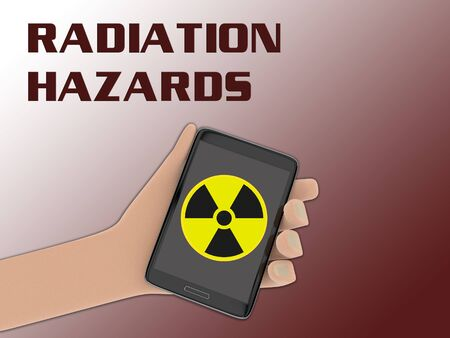 3D illustration of ionizing radiation sign on the screen of a cellulr phone held by hand, with the script RADIATION HAZARDS on the background.