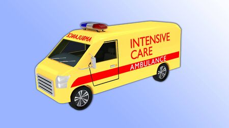 3D illustration of an intensive care ambulance, isolated on a pale blue gradient.