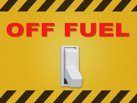 3D illustration of OFF FUEL title above an electric switch on yellow wall Foto de archivo - 129187539