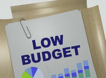 3D illustration of LOW BUDGET title on business document Stock fotó