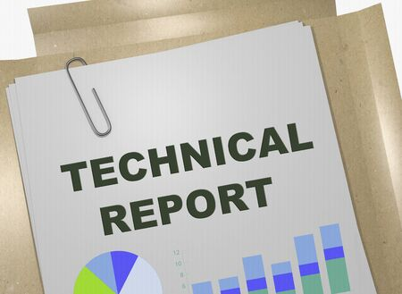 3D illustration of TECHNICAL REPORT title on business document