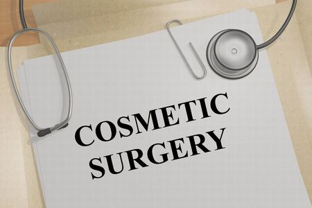 3D illustration of COSMETIC SURGERY title on a medical document