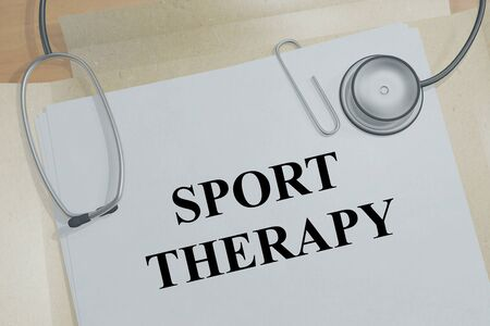 3D illustration of SPORT THERAPY title on a medical document Imagens