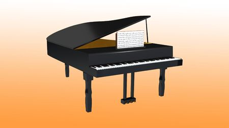 3D illustration of a grand piano with open musical notebook, isolated on orange gradient. Фото со стока
