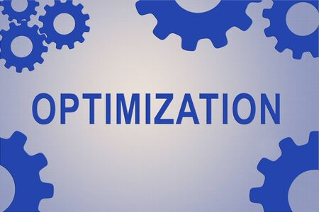 OPTIMIZATION sign concept illustration with blue gear wheel figures on pale blue background Stock Photo