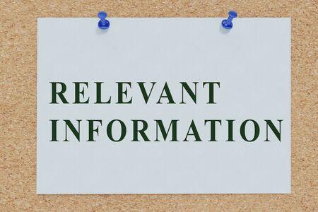 3D illustration of RELEVANT INFORMATION on cork board Imagens