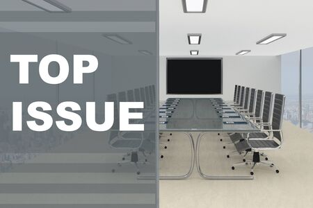 3D illustration of TOP ISSUE title on a glass compartment Stock fotó