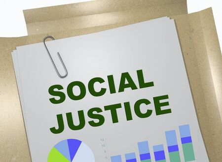 3D illustration of SOCIAL JUSTICE title on business document