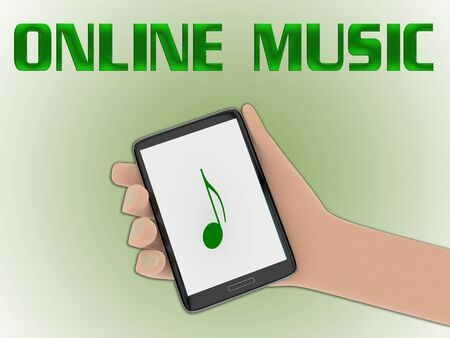 3D illustration of one dollar on the screen of a cellulr phone held by hand, isolated on green gradient, with the script ONLINE MUSIC on the background.