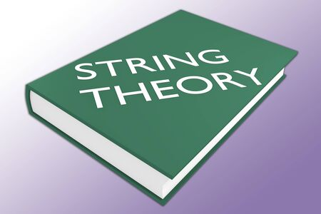 3D illustration of STRING THEORY script on a book, isolated on violet gradient.