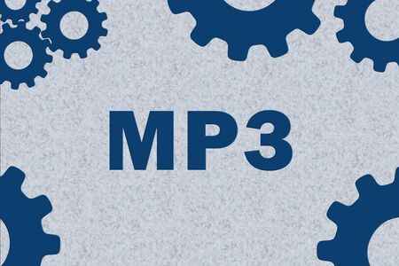 MP3 sign concept illustration with blue gear wheel figures on gray background Banco de Imagens