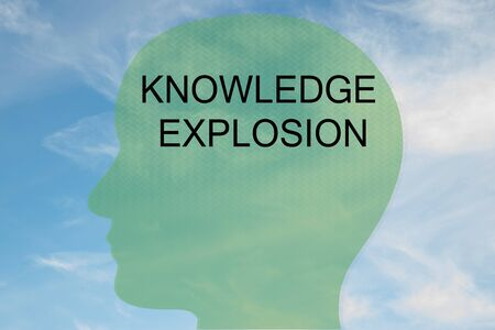 Render illustration of KNOWLEDGE EXPLOSION title on head silhouette, with cloudy sky as a background.