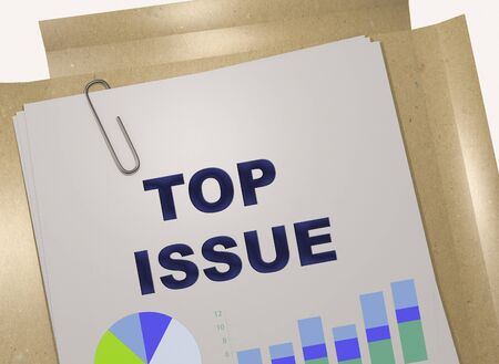 3D illustration of TOP ISSUE title on business document