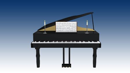 3D illustration of a grand piano with open musical notebook and two candles, isolated on blue gradient. Фото со стока