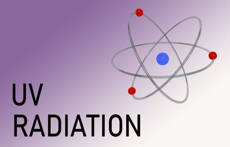 3D illustration of an atom with UV RADIATION title, isolated on violet gradient. 版權商用圖片