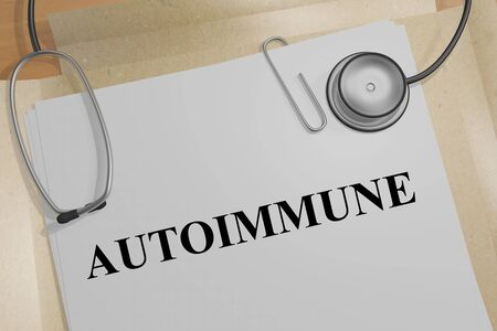 3D illustration of AUTOIMMUNE title on a medical document Stock Photo