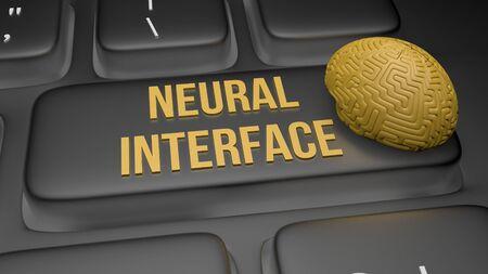 3D render illustration of neural interface keyboard concept 写真素材