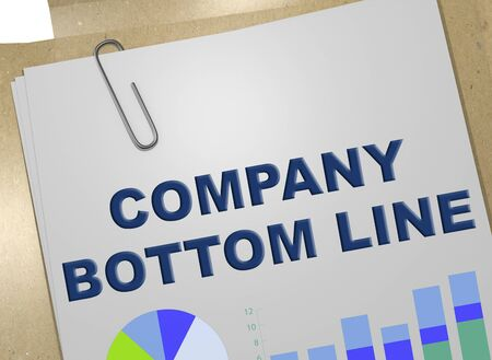 3D illustration of COMPANY BOTTOM LINE title on business document 写真素材