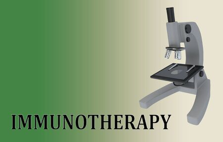3D illustration of a microscope with IMMUNOTHERAPY title, isolated on a green gradient.