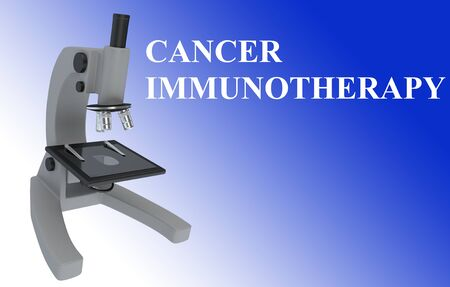 3D illustration of a microscope with CANCER IMMUNOTHERAPY title, isolated on blue gradient.