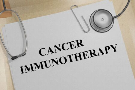 3D illustration of CANCER IMMUNOTHERAPY title on a medical document