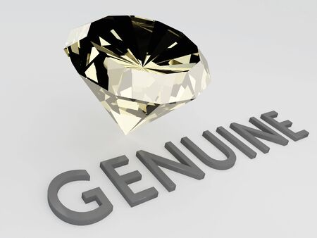3D illustration of GENUINE title with a diamond as a background