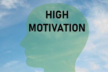 Render illustration of HIGH MOTIVATION title on head silhouette, with cloudy sky as a background.
