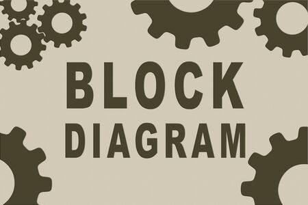 BLOCK DIAGRAM sign concept illustration with brown gear wheel figures on pale brown gradient as background
