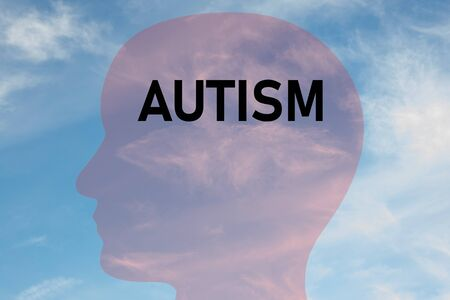 Render illustration of AUTISM title on head silhouette, with cloudy sky as a background.