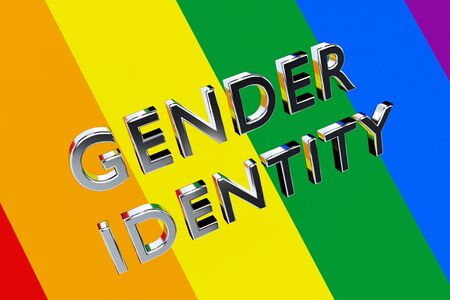 3D illustration of GENDER IDENTITY title with PRIDE FLAG as background